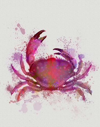 Crab 1 Pink Rainbow Splash art print by Fab Funky for $33.75 CAD