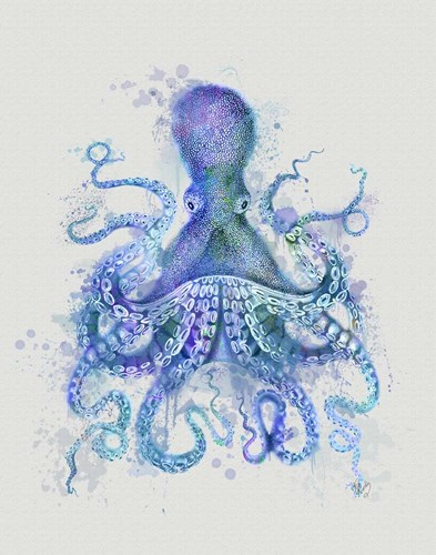 Octopus Rainbow Splash Blue art print by Fab Funky for $33.75 CAD
