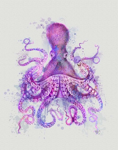 Octopus Rainbow Splash Pink art print by Fab Funky for $33.75 CAD