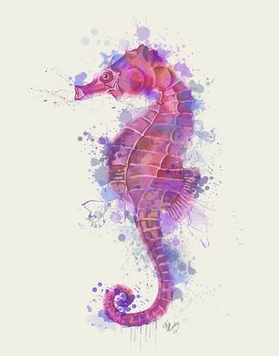 Seahorse Rainbow Splash Pink & Purple art print by Fab Funky for $33.75 CAD