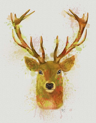 Deer Head 1 Rainbow Splash Red and Gold art print by Fab Funky for $33.75 CAD