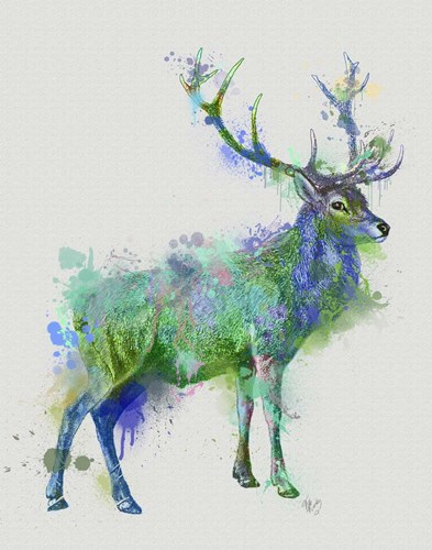 Deer 1 Rainbow Splash Green Blue art print by Fab Funky for $33.75 CAD