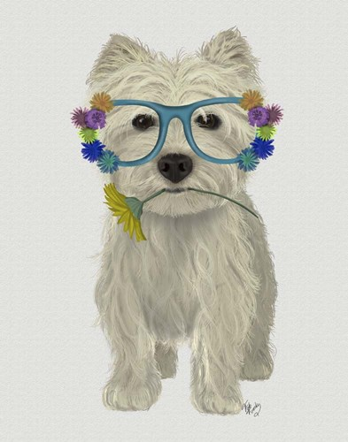 West Highland Terrier Flower Glasses art print by Fab Funky for $33.75 CAD
