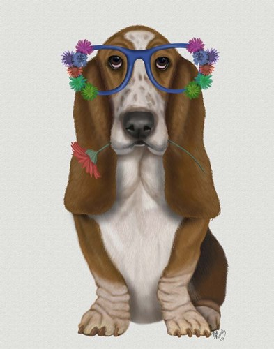 Basset Hound Flower Glasses art print by Fab Funky for $33.75 CAD