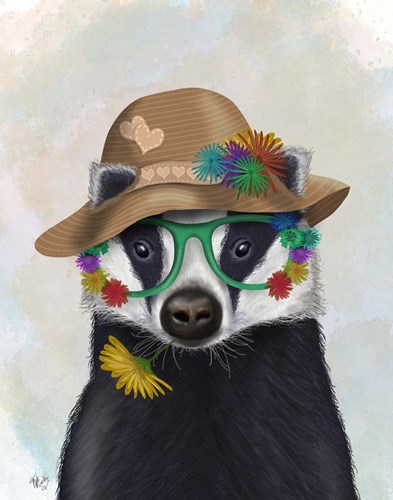 Badger and Flower Glasses art print by Fab Funky for $33.75 CAD