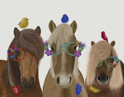 Horse Trio with Flower Glasses art print by Fab Funky for $33.75 CAD