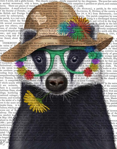 Badger and Flower Glasses art print by Fab Funky for $35.00 CAD