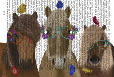 Horse Trio with Flower Glasses art print by Fab Funky for $36.25 CAD