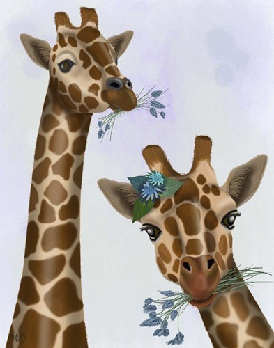 Chewing Giraffe Duo art print by Fab Funky for $33.75 CAD
