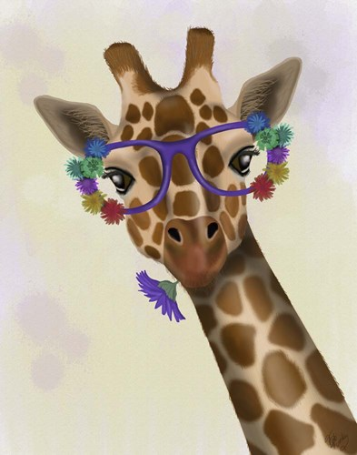 Giraffe and Flower Glasses 1 art print by Fab Funky for $33.75 CAD