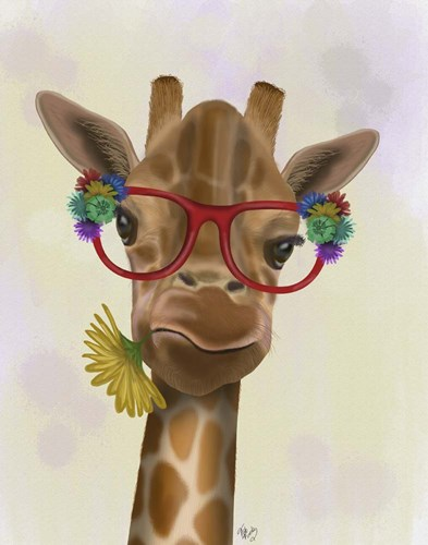 Giraffe and Flower Glasses 3 art print by Fab Funky for $33.75 CAD