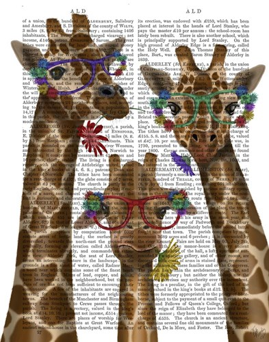 Giraffe and Flower Glasses, Trio art print by Fab Funky for $33.75 CAD