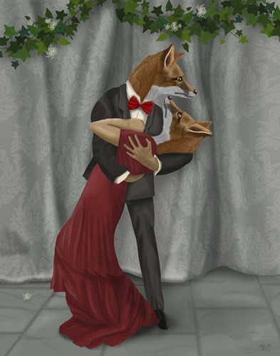Foxes Romantic Dancers art print by Fab Funky for $33.75 CAD