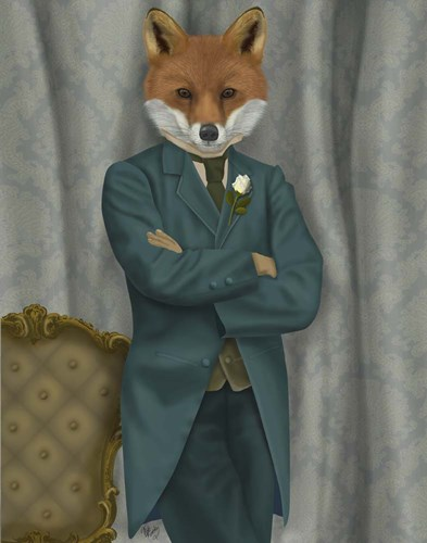 Fox Victorian Gentleman Portrait art print by Fab Funky for $33.75 CAD