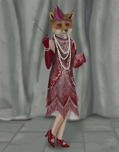 Fox Lady 1920s Flapper art print by Fab Funky for $33.75 CAD