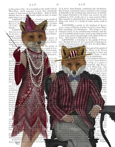Fox Couple 1920s art print by Fab Funky for $33.75 CAD