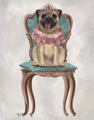 Pug Princess on Chair art print by Fab Funky for $33.75 CAD