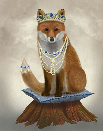 Fox with Tiara, Full art print by Fab Funky for $33.75 CAD