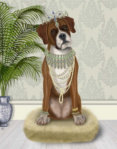Boxer and Tiara, Full art print by Fab Funky for $33.75 CAD