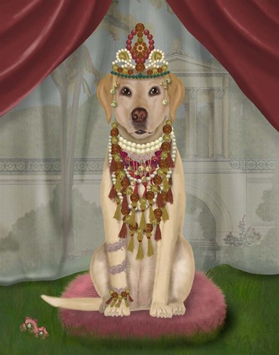 Yellow Labrador and Tiara, Full art print by Fab Funky for $33.75 CAD