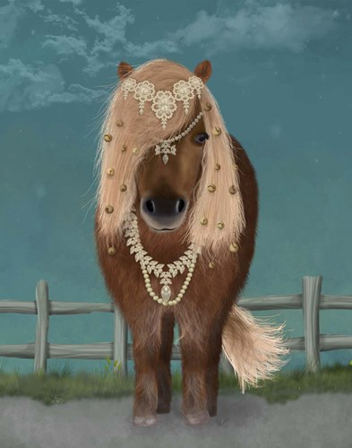 Horse Brown Pony with Bells, Full art print by Fab Funky for $33.75 CAD