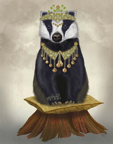 Badger with Tiara, Full art print by Fab Funky for $33.75 CAD