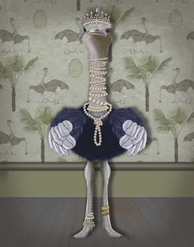 Ostrich and Pearls, Full art print by Fab Funky for $33.75 CAD
