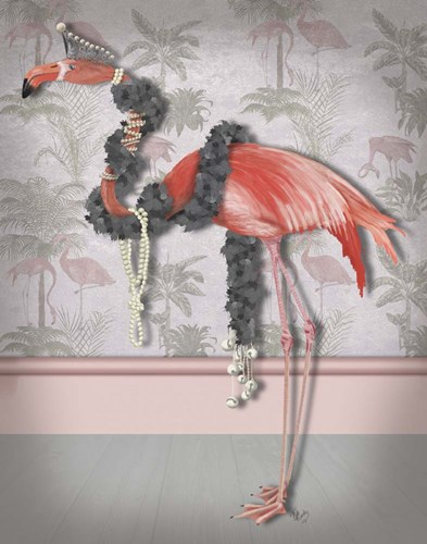 Flamingo and Pearls, Full art print by Fab Funky for $33.75 CAD