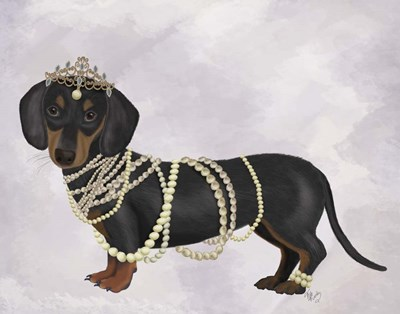 Dachshund and Pearls art print by Fab Funky for $33.75 CAD