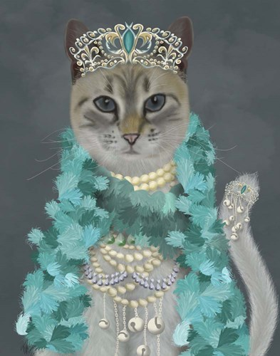 Grey Cat With Bells, Portrait art print by Fab Funky for $33.75 CAD