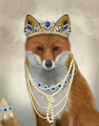 Fox with Tiara, Portrait art print by Fab Funky for $33.75 CAD