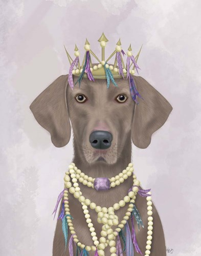 Weimaraner with Tiara art print by Fab Funky for $33.75 CAD