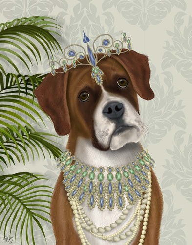 Boxer and Tiara, Portrait art print by Fab Funky for $33.75 CAD