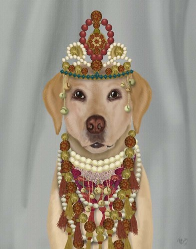 Yellow Labrador and Tiara, Portrait art print by Fab Funky for $33.75 CAD