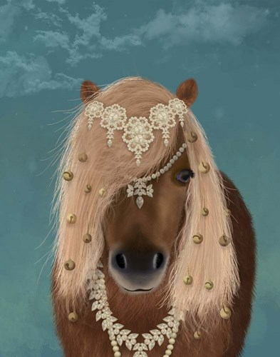 Horse Brown Pony with Bells, Portrait art print by Fab Funky for $33.75 CAD