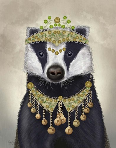 Badger with Tiara, Portrait art print by Fab Funky for $33.75 CAD