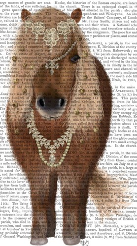 Horse Brown Pony with Bells, Full art print by Fab Funky for $37.50 CAD