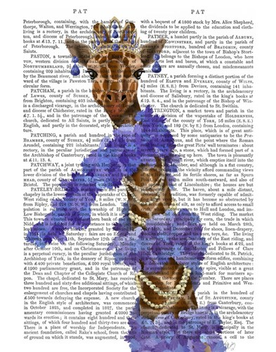 Giraffe with Purple Boa art print by Fab Funky for $33.75 CAD