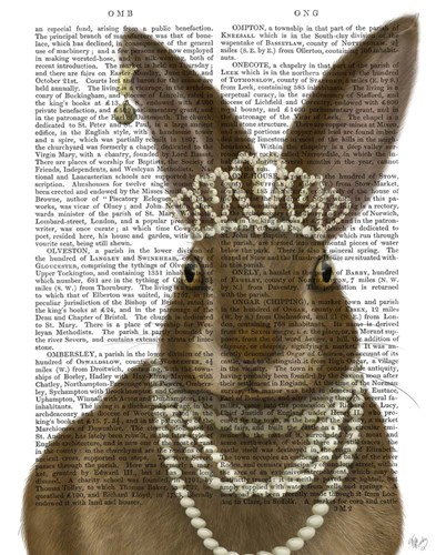 Rabbit and Pearls, Portrait art print by Fab Funky for $33.75 CAD