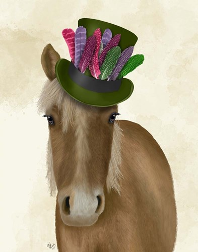 Horse with Feather Hat art print by Fab Funky for $33.75 CAD