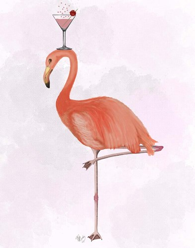 Flamingo and Cocktail 3 art print by Fab Funky for $33.75 CAD