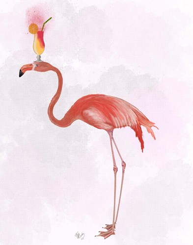 Flamingo and Cocktail 4 art print by Fab Funky for $33.75 CAD
