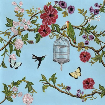 Bird Song Chinoiserie I art print by Naomi McCavitt for $53.75 CAD
