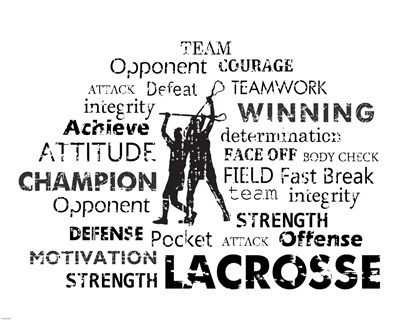 Lacrosse Text art print by Sports Mania for $56.25 CAD