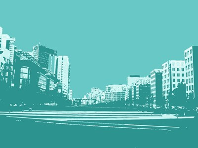 City Block on Blue art print by George Dilorenzo for $87.50 CAD