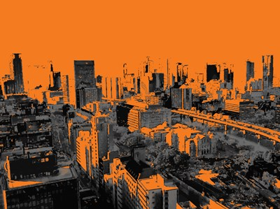 Skyline in Osaka2 art print by George Dilorenzo for $87.50 CAD