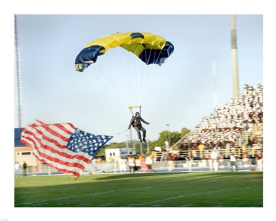 U.S. Navy Demonstration Parachute Team, the Leap Frogs, Lands at the 50 Yard Line of Aggie Stadium Greensboro NC art print by Unknown for $56.25 CAD