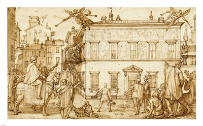 Taddeo Decorating the Facade of Palazzo Mattei art print by Federico Zuccaro for $75.00 CAD