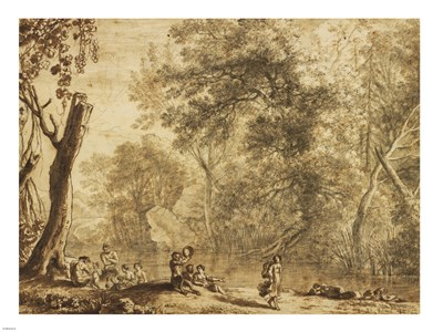 Woodland Landscape with Nymphs and Satyrs art print by Herman van Swanevelt for $67.50 CAD