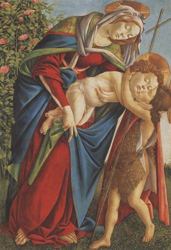Madonna with Child Embracing the Young St John art print by Sandro Botticelli for $35.00 CAD